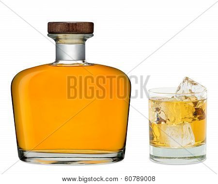 Glass Of Whiskey With Bottle