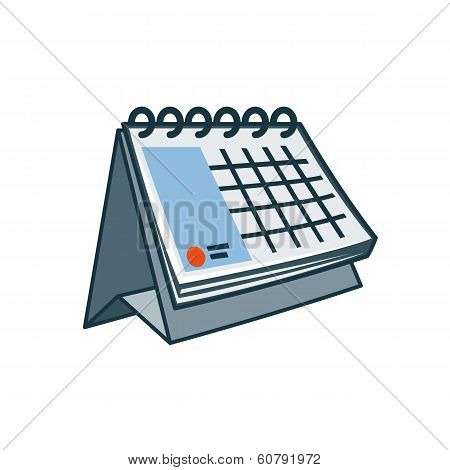 Table Calendar Icon In Cartoon Style