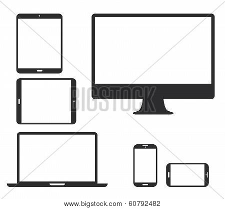 Set of black electronic device silhouette icons. Vector illustration of smart phone, tablet, laptop