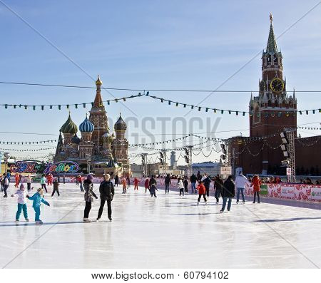 Moscow, Russia - March 08, 2010: Skaing Ring On Red Square