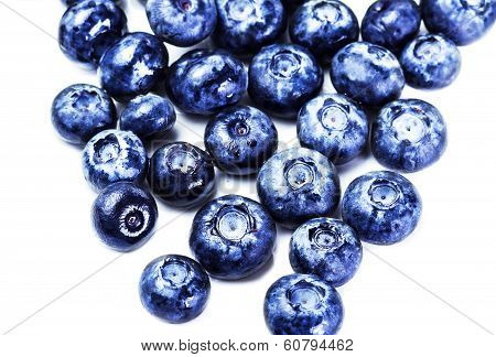 Blueberries Isolated On White Background Close Up. Group Of Fresh Blueberries Macro.