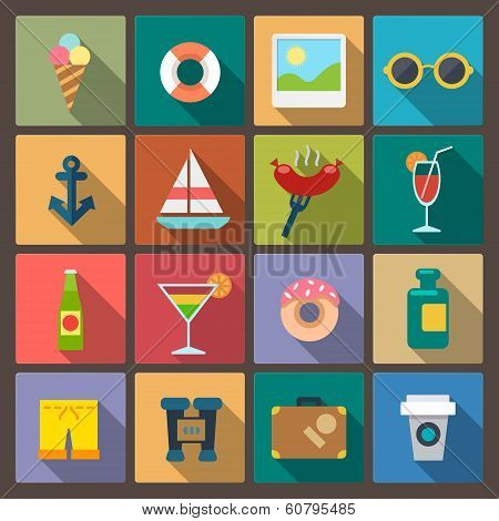 Set Of Sixteen Recreation Icons In Flat Design Style