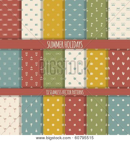 Set Of Summer Seamless Patterns