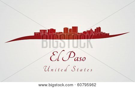 El Paso Skyline In Red