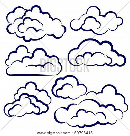 clouds collection sketch cartoon vector illustration