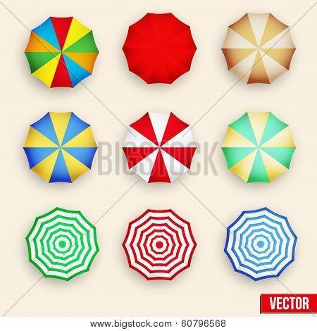 Symbol set of a parasol, top view.