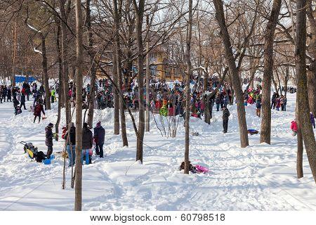 Russia, Samara - March 2, 2014: Samara People Celebrates Shrovetide. Maslenitsa Or Pancake Week Is T