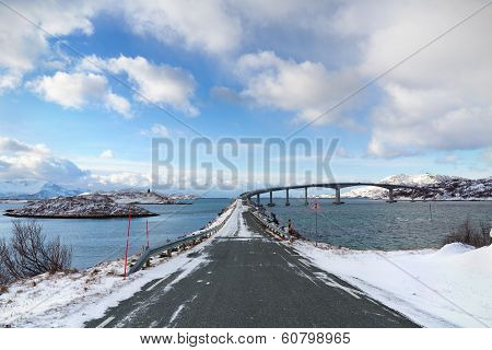 Cantilever Bridge In Arctic Norway