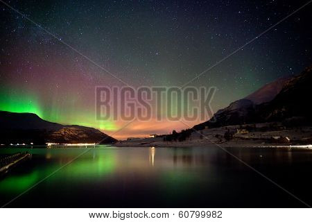 Arctic Night : Aurora Borealis Reflected On The Fjord