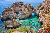 stock photo of lagos  - Rocks and Sea in Lagos Algrave Portugal - JPG