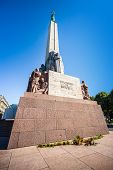 Freedom Monument Known As Milda, Located In The Centre Of Riga, The Capital Of Latvia. Riga Is Europ