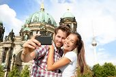 stock photo of dom  - Travel couple selife self portrait - JPG
