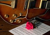 stock photo of ibanez  - classic ibanez style guitare with love - JPG