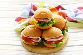 stock photo of beef-burger  - mini burgers with ham and vegetables  - JPG