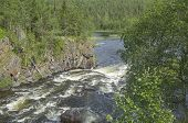 stock photo of murmansk  - Rapids at the confluence of the river into the lake - JPG
