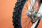 Motocross Bike Tyre And Disc Breaks In Closeup