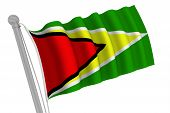 Guyana Flag On Pole