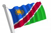Namibia Flag On Pole