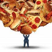 picture of unhealthy lifestyle  - Dieting challenge health concept with an obese person holding up a group of unhealthy fatty fast food as a health risk symbol of bad nutrition and risk of heart disease - JPG
