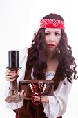 Pirate Woman On White Background