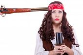 picture of musket  - Pirate with musket at head studio shooting - JPG