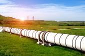 pic of gas-pipes  - Industrial white pipe with gas and oil - JPG