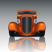 foto of street-rod  - Front view of orange hot rod with reflection - JPG