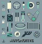 stock photo of gear-shifter  - Collection of retro style flat car parts and icons - JPG