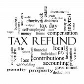 Tax Refund Word Cloud Concept In Black And White