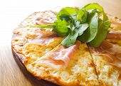 Itallian Pizza Parma Ham On Wood Dish