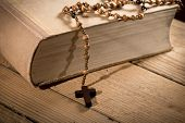 stock photo of prayer beads  - still life with bible and prayer beads
