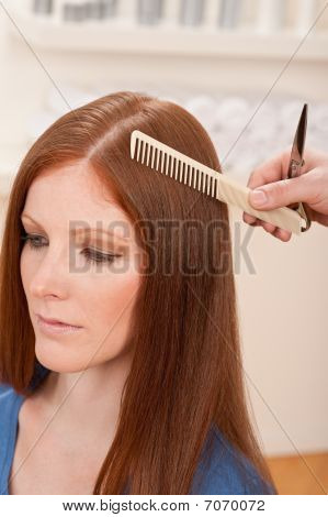 Professional Hairdresser Cut With Scissors At Salon