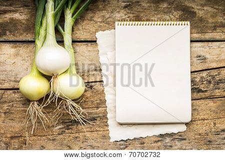 Menu Background. Vegetables On Table With Cook Book. Cooking With Recipe Book.