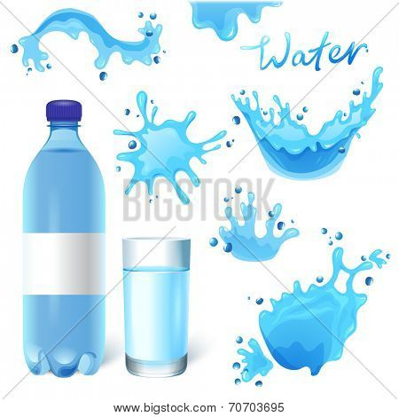 Water bottle, glass of water and water splashes set