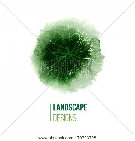 hand drawn watercolor landscape design logo