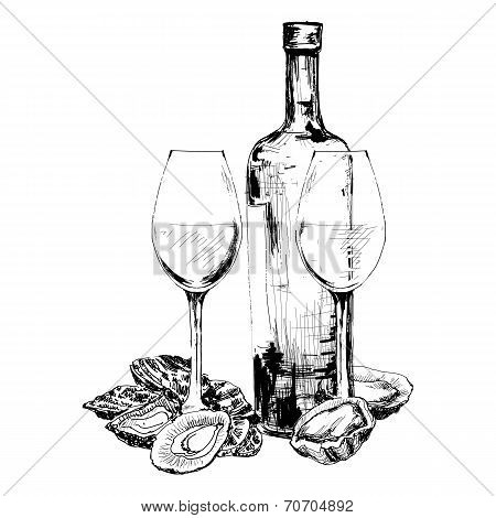 Bottle of wine, oysters and two glasses