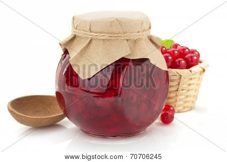 red currant jam on white background