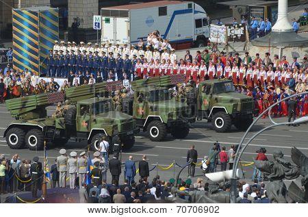 KIEV, UKRAINE - AUG 24, 2014.Ukrainian army during President Poroshenko Victory parade in downtown.  August 24, 2014 Kiev, Ukraine