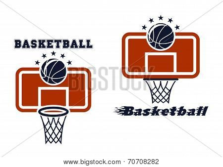 Backboard and basketball symbols