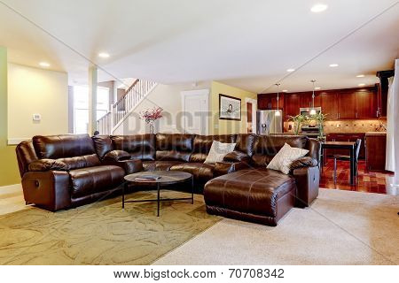House Interior. Living Room With Cozy Leather Couch