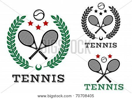 Tennis sporting emblems and symbols
