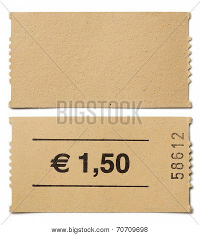 ticket stub isolated on white