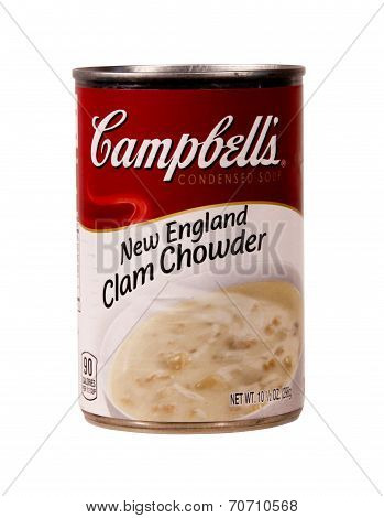 Can Of Campbell's Clam Chowder Soup