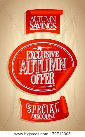 Autumn offer, sale stickers set on a paper. Eps10