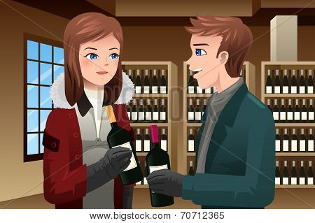 Couple Buying Wine