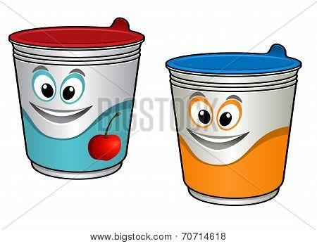 Cartoon cherry yoghurt