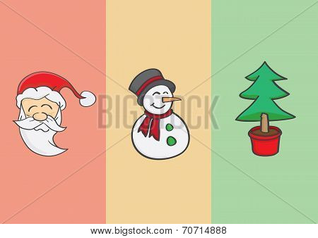 Christmas Tree Snowman And Santa Claus
