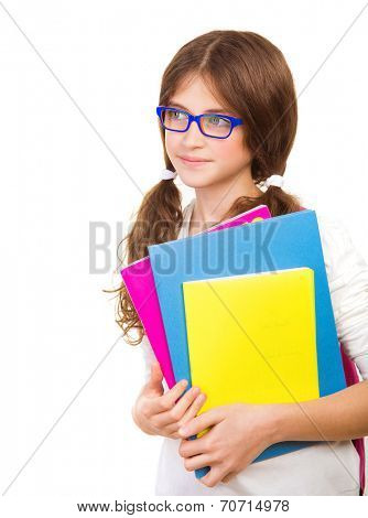 Happy school girl isolated on white background, cute brunette teenager standing and holding books, pretty school kid with cheerful smile, back to school, education and knowledge concept