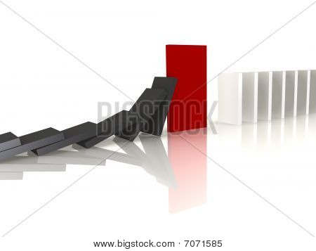 Red domino blocking the fall - a 3d image