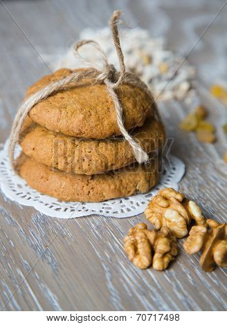 Three Oat Biscuits With Raisins And Wallnuts